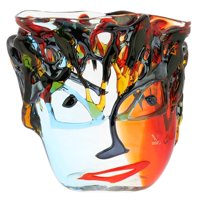 GlassOfVenice Murano Glass Picasso Head Vase - Wide