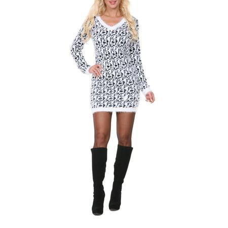 Women's Leopard Print Angora Sweater Dresss