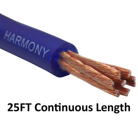 Amp Cable - Harmony Audio 4 Gauge 4GA Car Stereo Matte Blue Power Cable Amp Wire - 25 FT
