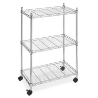 "Whitmor Supreme 3 Tier Cart - Rolling Utility Organizer - 250 lb. per Shelf Capacity- Chrome - 13.25"" x 22.50"" x 33.0"""
