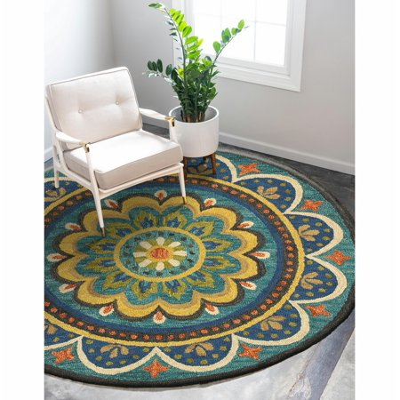 Dazzle Blooming Floral Medallion Indoor Round Rug ( 6 ft x 6 ft )