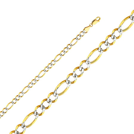 Jewels By Lux 14K Yellow Gold 5.6MM Figaro Open White Pave Chain Necklace With Lobster Claw Clasp - 8 Inches