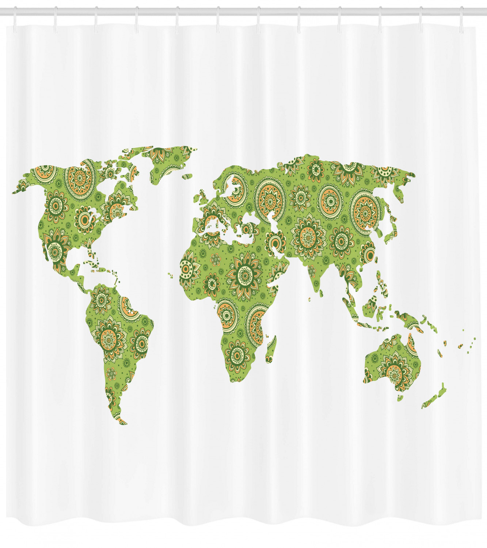 Modern Shower Curtain Ethnic Stylized World Map Chart Environment Flourishing Original Artisan Picture Fabric Bathroom Set With Hooks 69w X 75l
