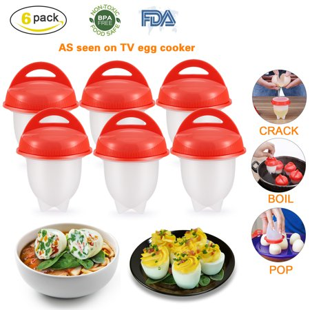 Silicone Egg Cooker Poaching Cup 6 Packs, Magicfly Hard Boiled Egg Maker Poucher without Shell Non Stick, BPA Free