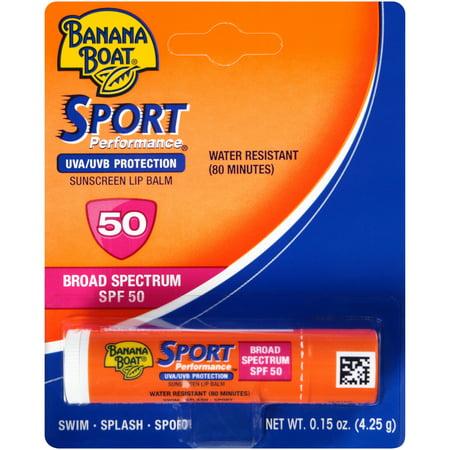 Banana Boat Sport Performance Crème solaire Baume à lèvres à large spectre SPF 50 - 0,15 Onces