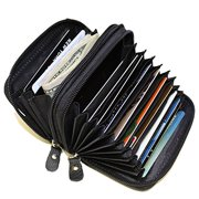 Leather RFID Identity safe Double Zipper accordion wallet by Leatherboss