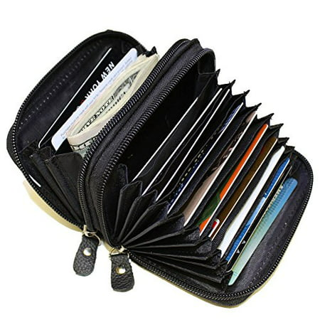 Leather RFID Identity safe Double Zipper accordion wallet by -
