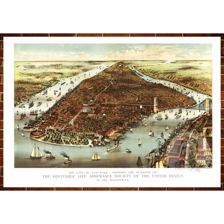 - Ted's Vintage Art Map of New York, NY 1870; Old New York Decor 8