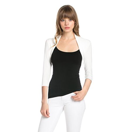 Fashion Secrets Women 3/4 Sleeve Rayon Bolero Shrug Cropped Cardigan ( X-Large, Ivory)