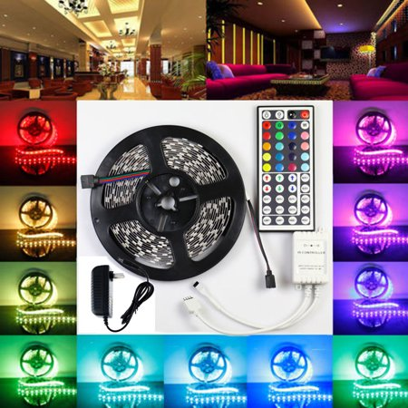Lightahead® IP65 300 LED Water Resistant Flexible Strip Light - 16.4 feet (5 Meter) Color Changing RGB LED Strip Light Kit with Remote