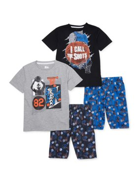 Sleep On It Boys 6-14 Basketball 4-Piece Shorts with Short Sleeves Pajama Set