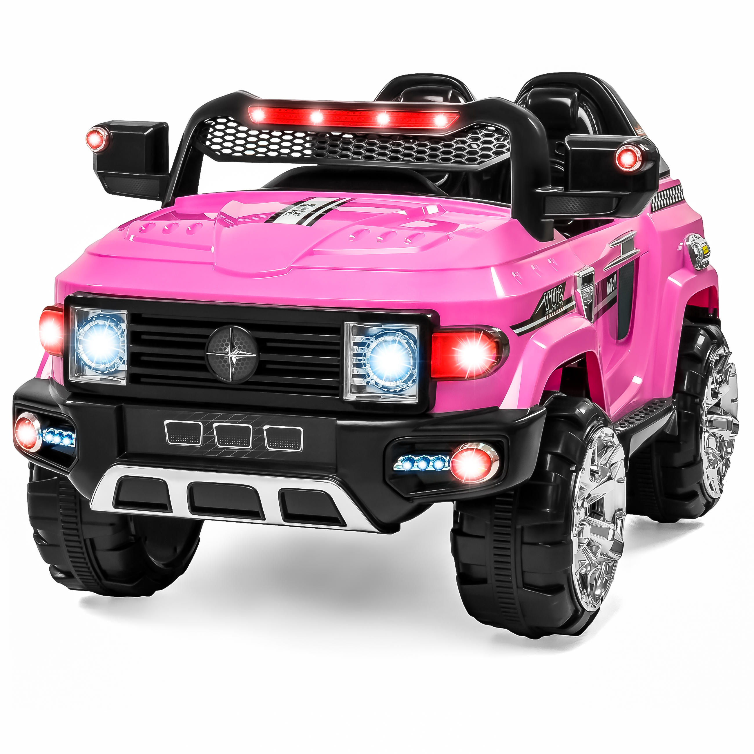 Best Choice Products 12V MP3 Kids Ride-On Truck Car RC Remote Control, LED Lights AUX and Music - Pink
