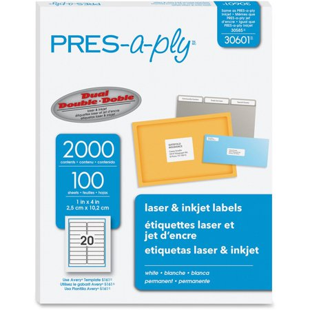 PRES-a-ply Laser Address Labels, 1 x 4, White, 2000/Box