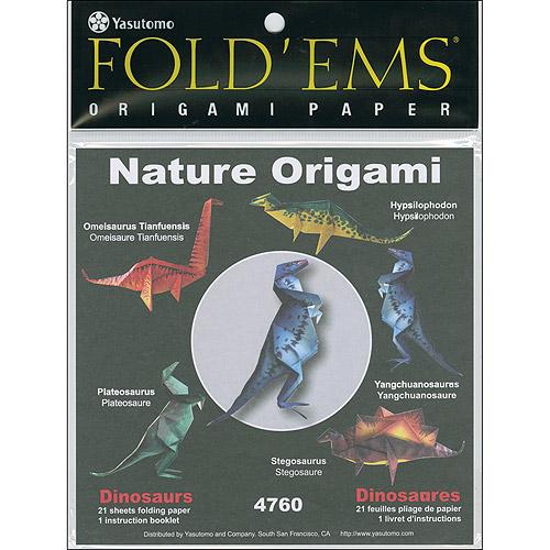 Fold Ems Origami Paper 6`x6` 21/Pkg-Dinosaurs Multi-Colored