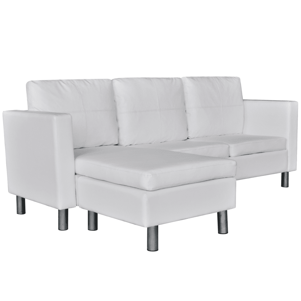 3-Seater L-shaped Artificial Leather Sectional Sofa White by