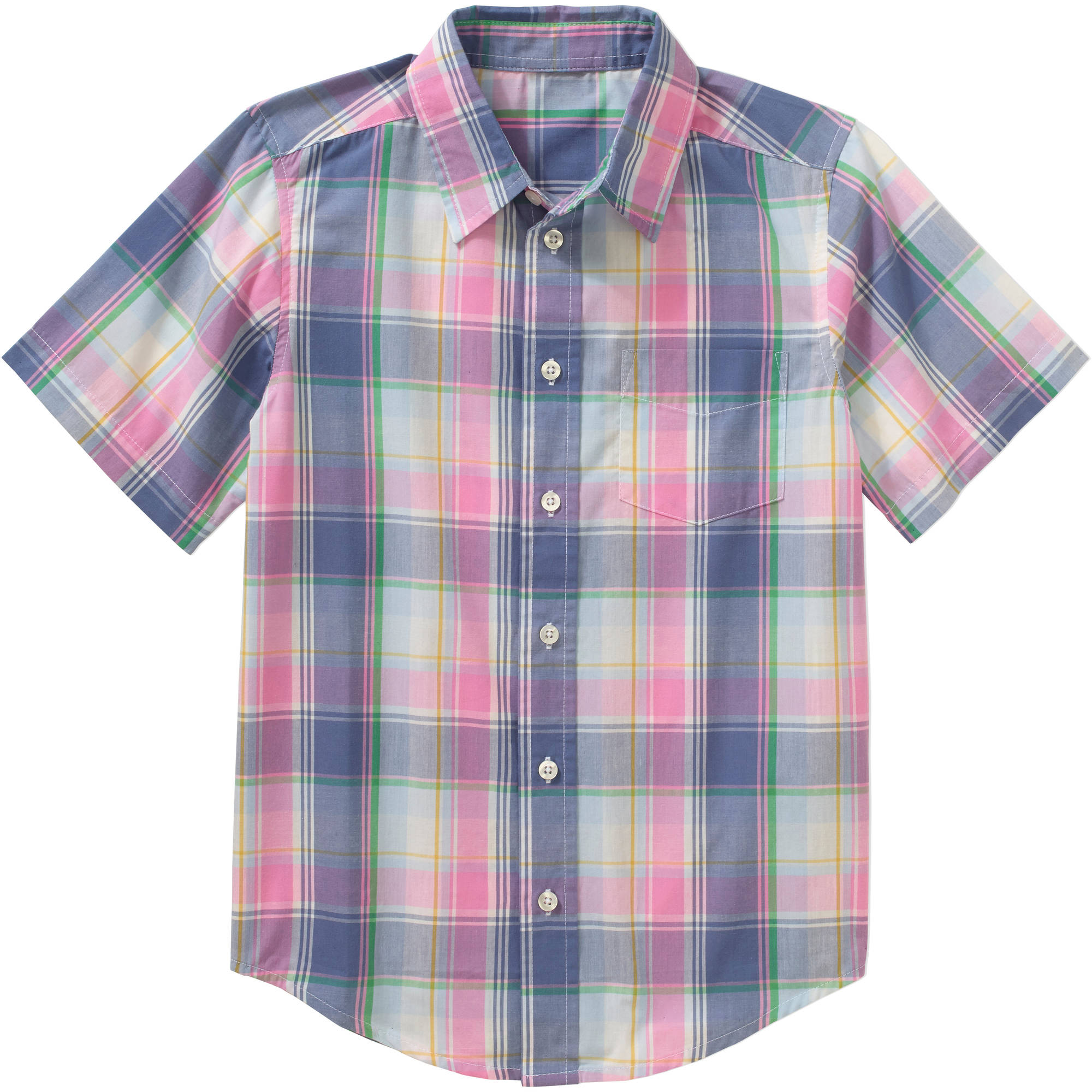 Boys' Short Sleeve Woven Plaid Shirt