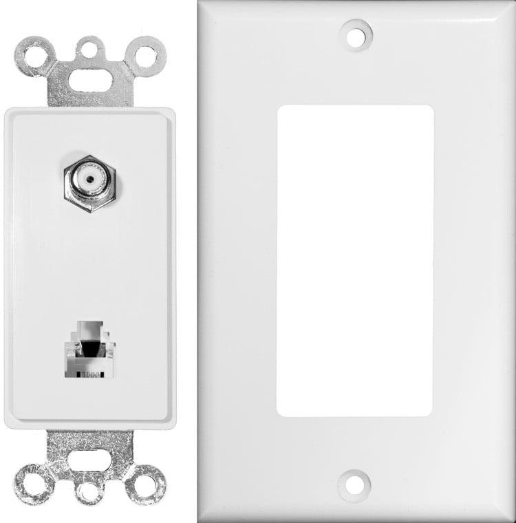 Decorator Combination Phone/CATV Jack 2 Piece White