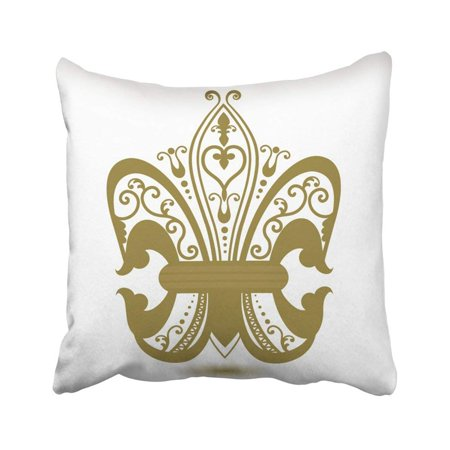 - ARTJIA Iron Ornate Fleur De Lis Heart Royalty Armor French Border Flourish Vintage Pillowcase Throw Pillow Cover Case 18x18 inches