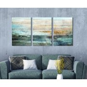 """wall26 3 Panel Canvas Wall Art - Abstract Grunge Color Compositon - Giclee Print Gallery Wrap Modern Home Decor Ready to Hang - 24"""" x 16"""" x 3"""