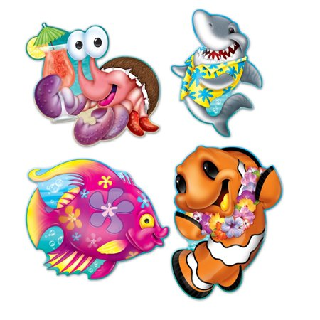 Club Pack of 48 Bright Colored Crab, Shark, and Fish Luau Party Decoration Cutouts 16