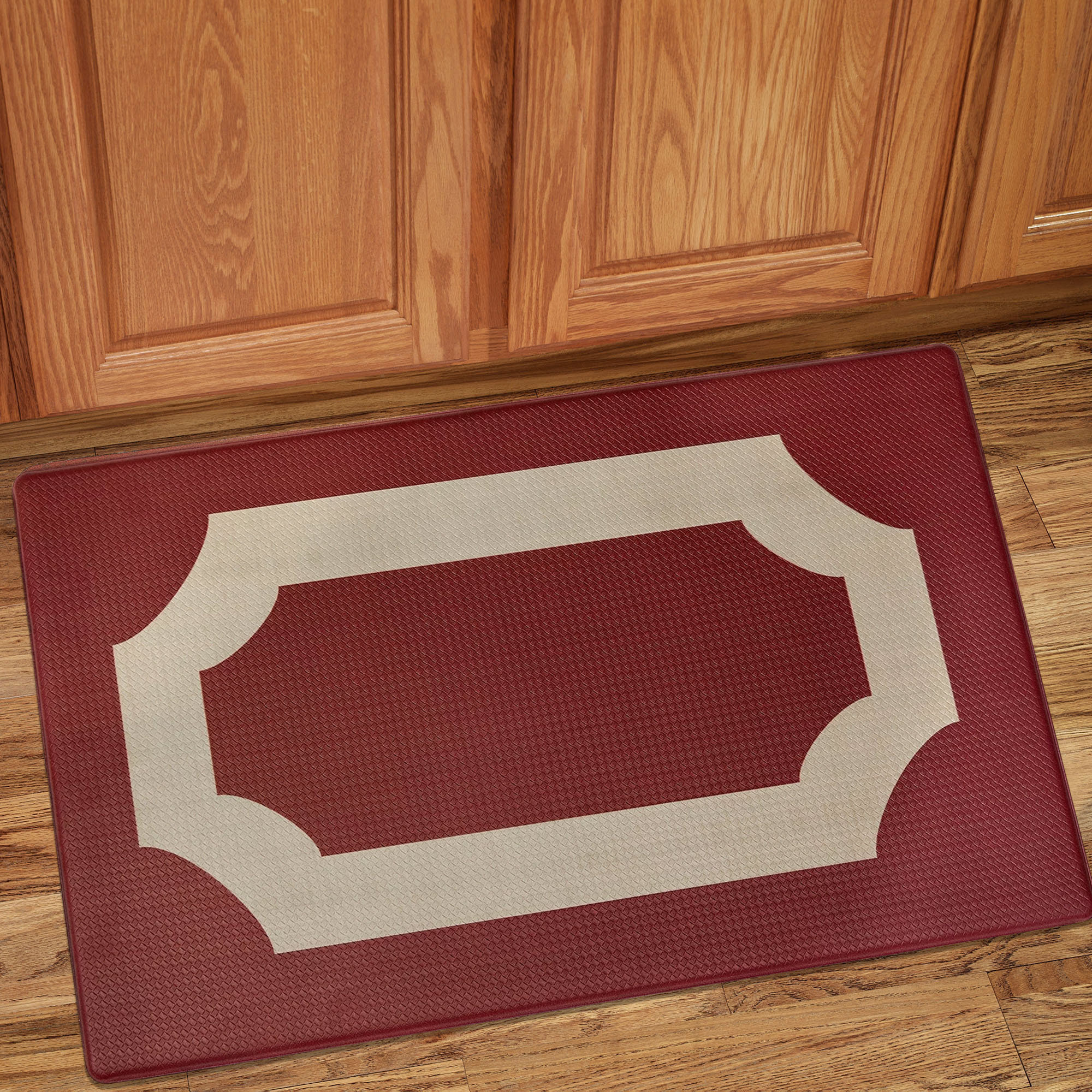 "Darcy Printed Anti-Fatigue Kitchen Floor Rug Mat 18"" x 30"" Marsala and Tan - Walmart.com"