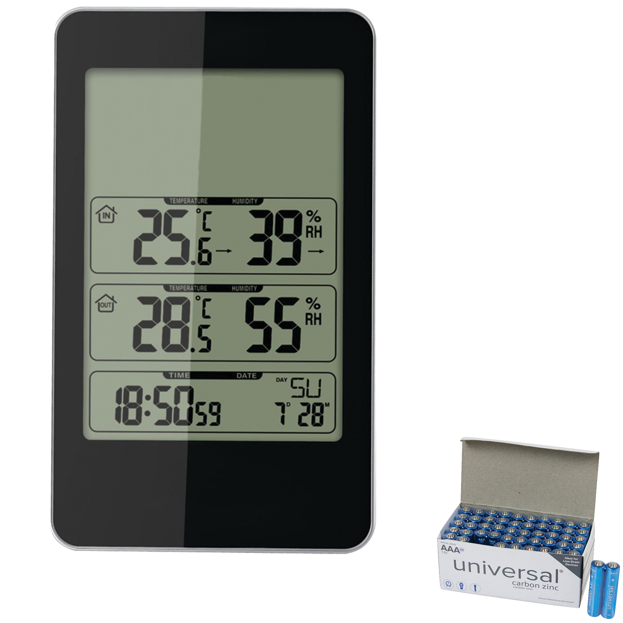 Taylor Precision Products 1733 Indoor/Outdoor Digital Thermometer With Barometer & Timer & UPG AAA 50 Pack