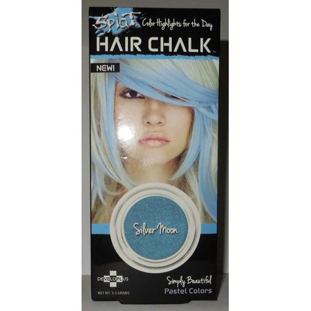Hair Chalk Highlights - Silver Moon (Pack of 2), Pack of 2 , Each pack Complete Kits Include: Compact of Silver Moon Hair Chalk & Applicator Sponge By Splat ()