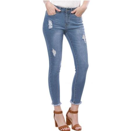 Women Skinny Washed Denim Distressed Frayed Hem Jeans Blue S (US (Best Skinny Jeans For Short Women)