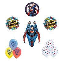 Superman Man of Steel birthday party balloon supplies and decorations