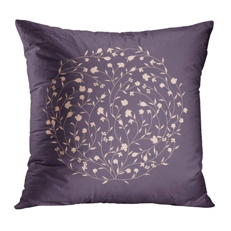 BOSDECO Pink Ball Abstract Circle Flowers Purple Ornate Round Leaf Romantic Blossom PillowCase Pillow Cover 20x20 inch - image 1 de 1