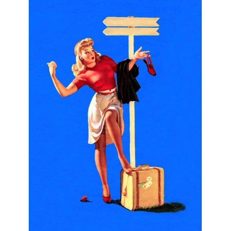 Elvgren Art (Foot-Loose Pin-Up 1944 Print Wall Art By Gil Elvgren)