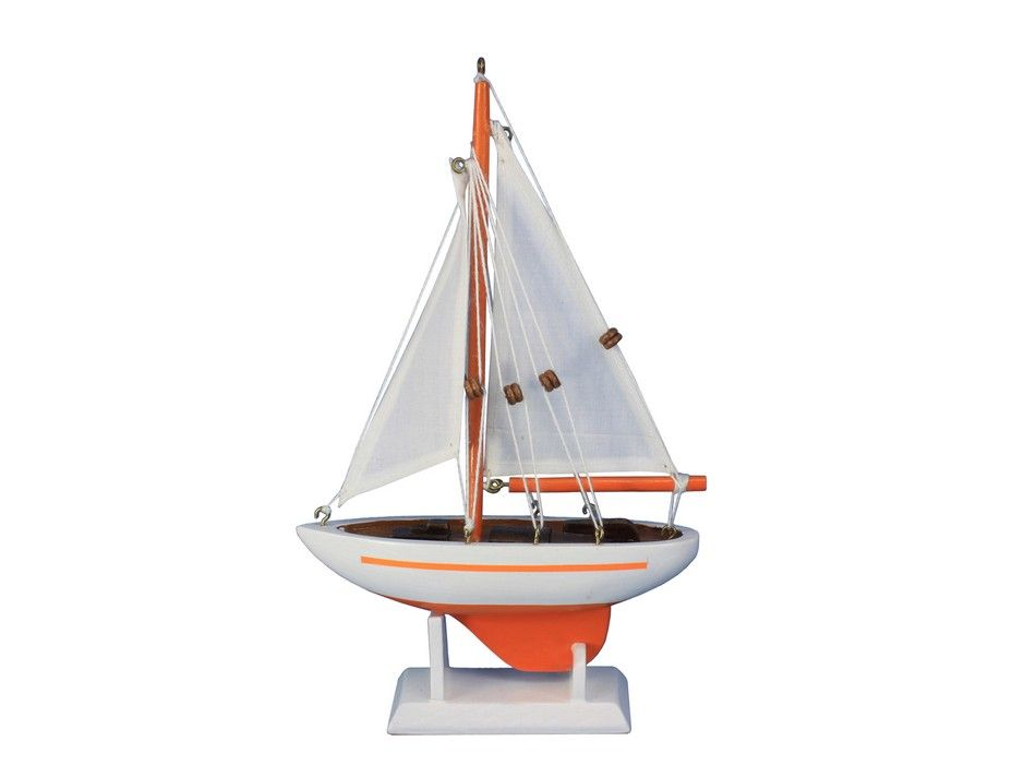 "Pacific Sailer Orange White Sails 9"" Small Model Sailboat Sailing Boat Decoration by Handcrafted Nautical Decor"