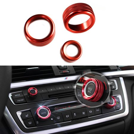 Climate Control Knobs - Xotic Tech 3 Pieces Red AC Climate Control Radio Volume Knob Ring Covers For BMW 1 2 3 3GT 4 Series