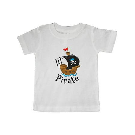 Lil' Pirate pirate ship, blue bandana Baby T-Shirt - Baby Pirate Shirt