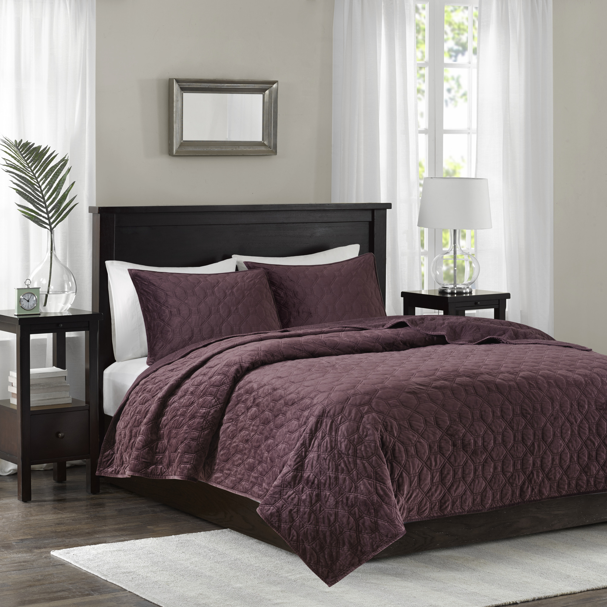 Home Essence Mercer Faux Velvet Reversible 3 Piece Coverlet Set