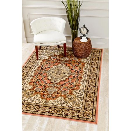 - 3787 Rose Oriental 8 x 10 Carved Chenille Area Rug Carpet Large New