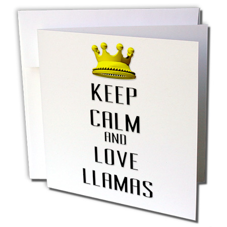 3dRose Gold Crown Keep Calm And Love Llamas - Greeting Cards, 6 by 6-inches, set of 12