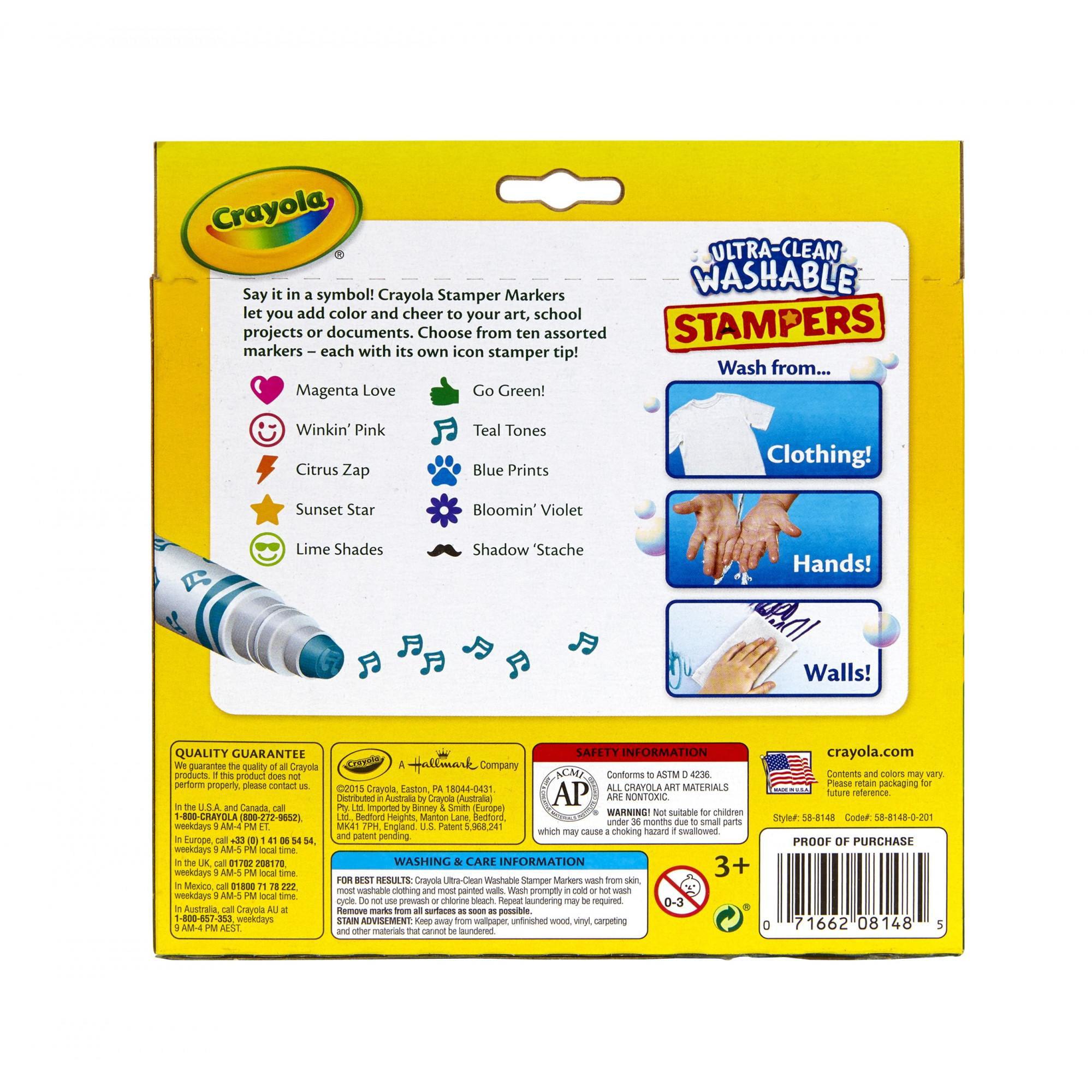 Crayola 10 Count Ultra Clean Washable Stamper Markers Walmart Com Walmart Com