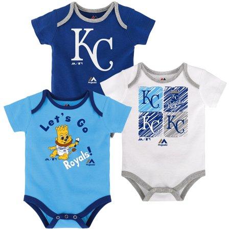 Kansas City Royals Majestic Newborn & Infant Go Team 3-Pack Bodysuit Set - Royal/Light Blue/White - Halloween Royal Baby