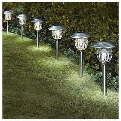 Sterno Home TV28568SS6 Solar Path Lights, Stainless Steel, 6-Pk.