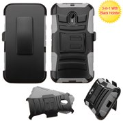 For Moto G 3rd gen Black/Gray Advanced Armor Stand Case Cover (With Holster)