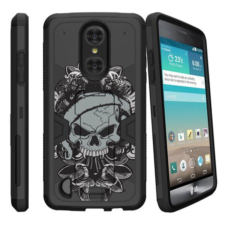 LG K8 Case (2017 Release) | LG Aristo Case | LG LV3 Case (MS210) [Max Defense] Dual Layer Case with Built In Kickstand + Belt Clip - Demon Skull (Skull Belt)