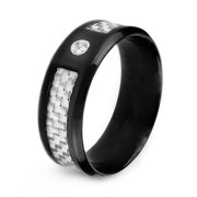 Black Plated Stainless Steel Carbon Fiber Ring (8mm)