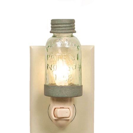 Mini Mason Jar Night Light Country Chic Rustic Barn Roof Finish