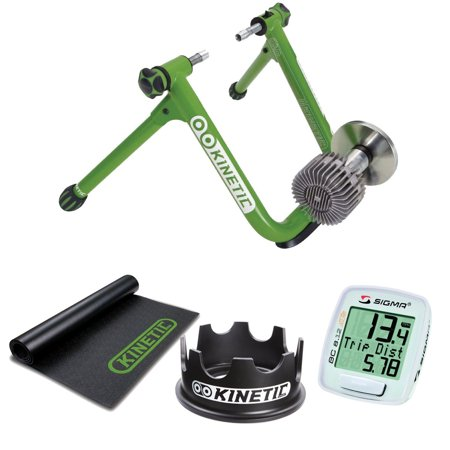 Kinetic T-2200 New Road Machine Fluid Trainer + Kinetic Rubber Bicycle Trainer Floor Mat + Kinetic Fixed Riser Ring