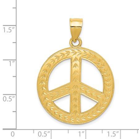 14K Yellow Gold Solid Polished Peace Sign Pendant - image 1 de 2