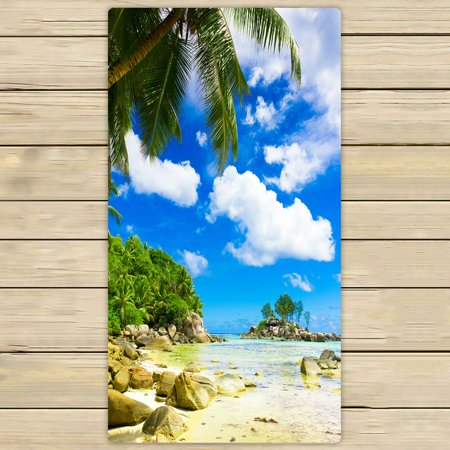 PHFZK Beautiful Sky Cloud Towel, Tropical Summer Beach Palm Tree Hand Towel Bath Bathroom Shower Towels Beach Towel 30x56 inches