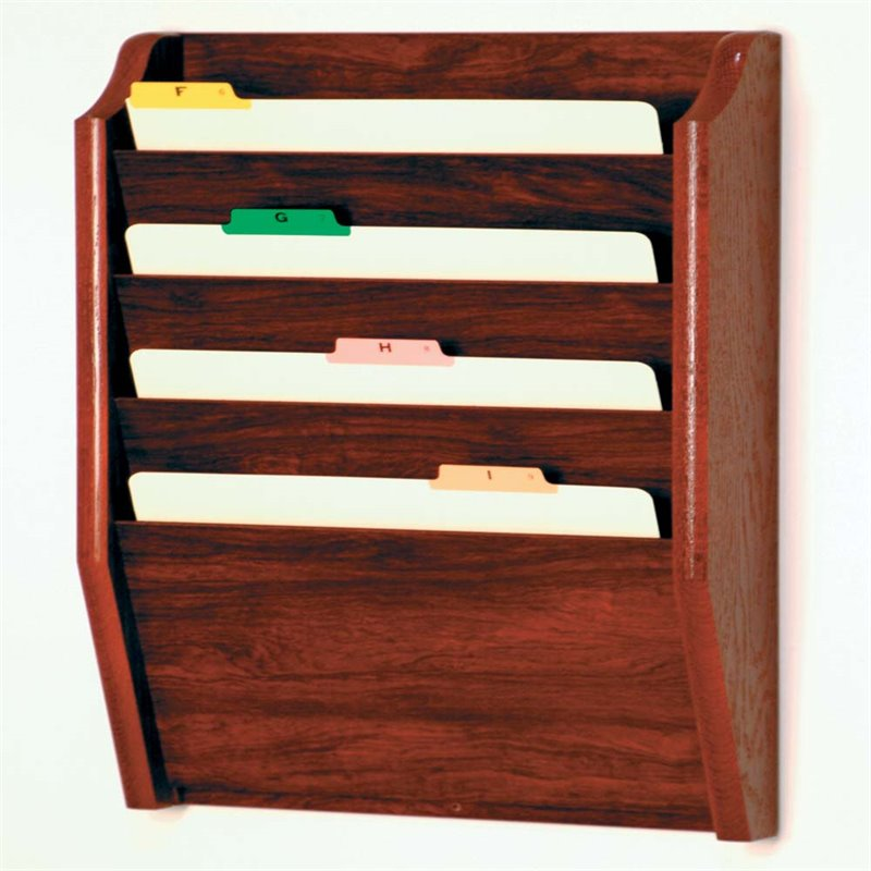Scranton & Co 4 Pocket Legal Size Wall File Holder in Mahogany
