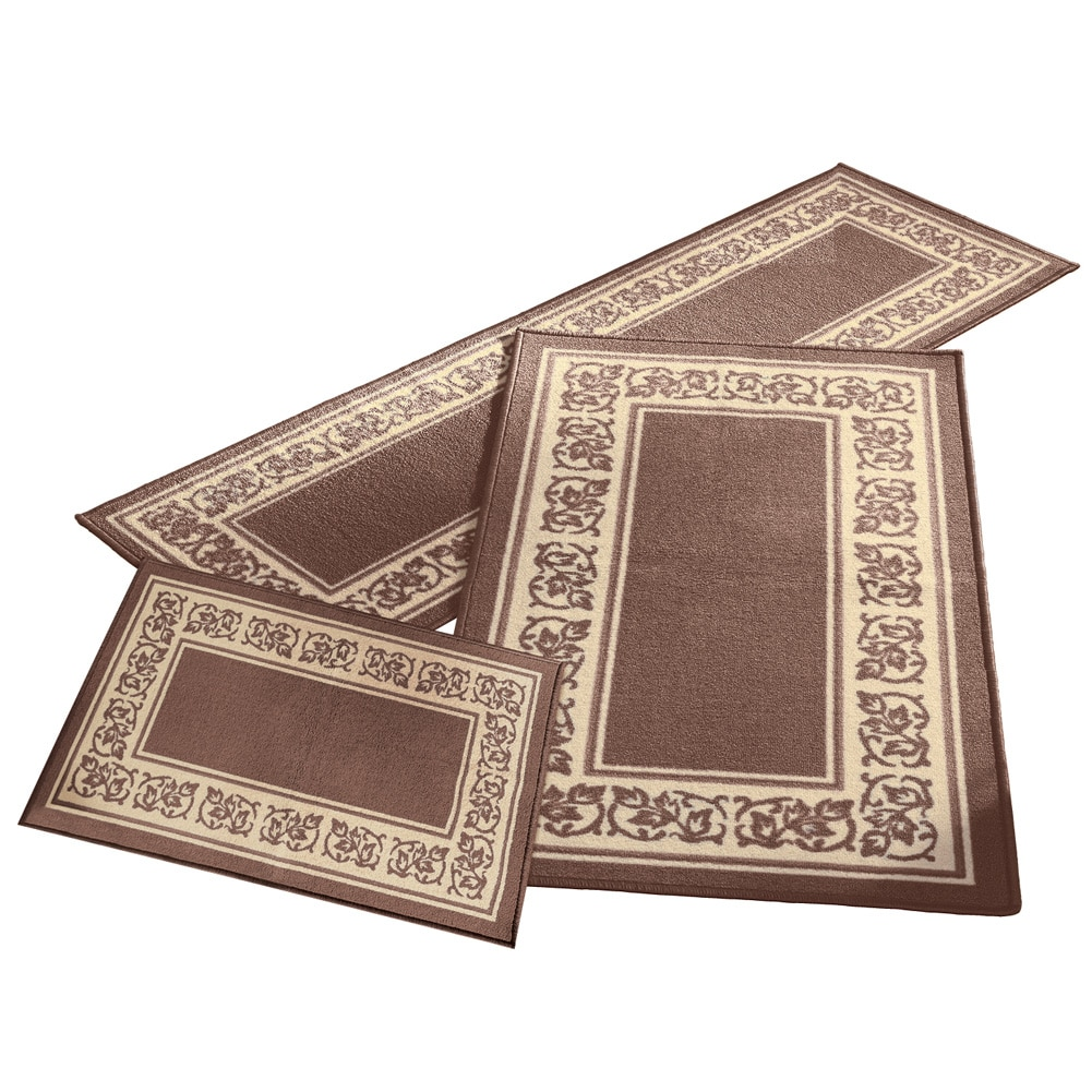 Click here to buy Madison Home 3 Piece Floral Border Red Area Rug Set by Maestro Luggage.