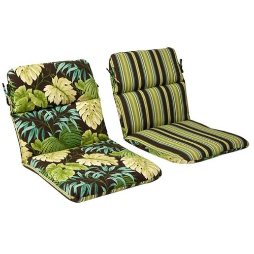 Outdoor Patio Furniture High Back Chair Cushion Reversible Tropical Green Stripe